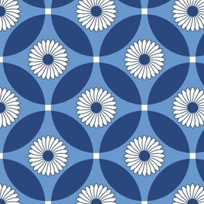 Circle Lock Flowers - Denim Blues and White