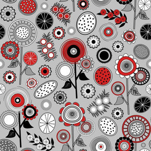Red, Black and White Mid Century Modern Field of Flowers - V2