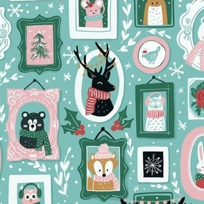 Cute & Cozy Winter Animals in Pink, Teal, and Green - Large