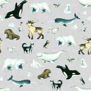 Arctic Pals / Watercolour Arctic Animals on Linen Background - Smaller Size