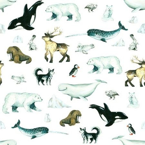 Arctic Pals / Watercolour Arctic Animals on White Background - Smaller Size