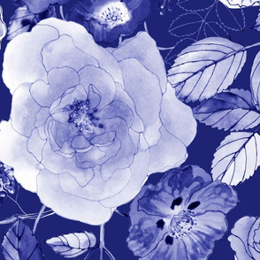 Chintz Roses deep blue mix