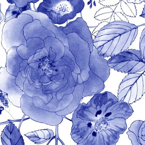 Chintz Roses light blue mix
