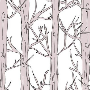 Behind the trees little forest abstract tree and branches design white mauve JUMBO