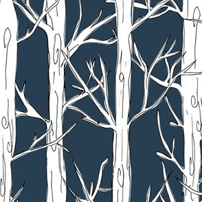 Behind the trees little forest abstract tree and branches design navy white snow JUMBO