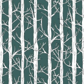 Behind the trees little forest abstract tree and branches design white green