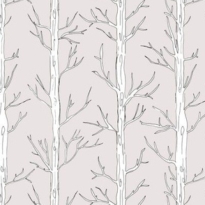 Behind the trees little forest abstract tree and branches design blush neutral gray white nursery