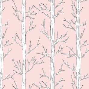 Behind the trees little forest abstract tree and branches design blush pink white nursery