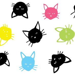 Scattered Multicoloured Cats - large scale