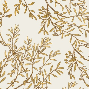 Gold branches on cream toile chinoiserie ivory wallpaper medium