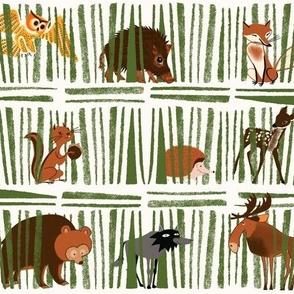 Woodland Animals on Dots - medium scale