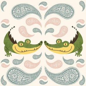 Kissing Crocodiles with paisley pastel - large scale