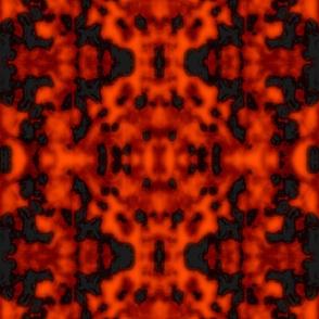 """Fat Lava"" Kilim Red/Black Sponge Texture"
