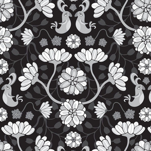 Whimsical Birds Blossoms Floral Black White UnBlink Studio by Jackie Tahara