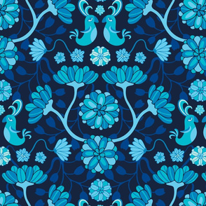 Whimsical Birds Blossoms Floral Blue Black UnBlink Studio by Jackie Tahara