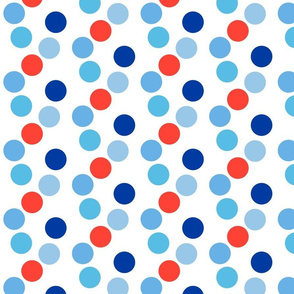 Dancing Dots in Red, White, Blue