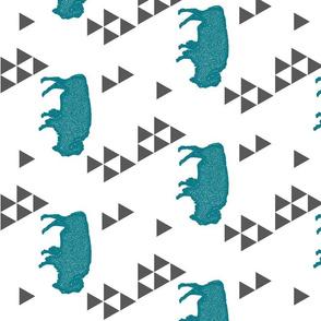 Geometric Buffalo in Teal rotated 90 degrees
