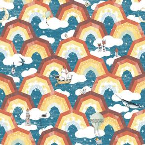 Rainbow Wonderland Nursery repeat pattern