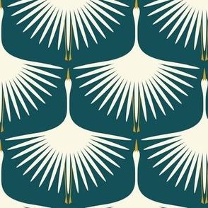 Art Deco Swans - Deep Teal