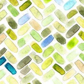 Watercolor herringbone in green and aqua