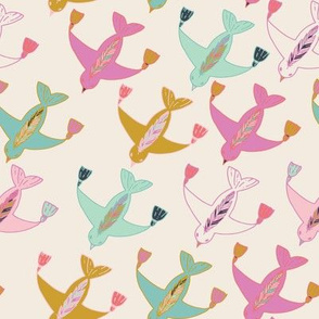 Flying birds with tassels at their wingtips and feathers on their backs cream, pink, purple, blue, green and gold