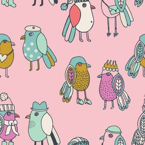 A little birdie told me! Chatting birds, wearing their hats, crowns scarfs shoes and bags, pink, purple, blue, green, gold and cream