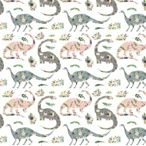 """floral patchwork dinosaurs - 4"""" wide"""
