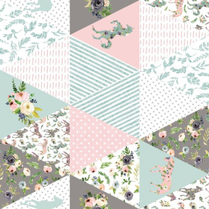 """blush floral horse cheater quilt - 6"""" triangles - rotated"""