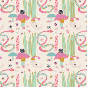 Moon, toadstool, snail, snake, beetles, bugs, blue, green, gold, pink, cream, hand drawn, repeating pattern