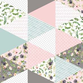 """blush floral triangle cheater quilt  - 6"""" triangles - rotated"""