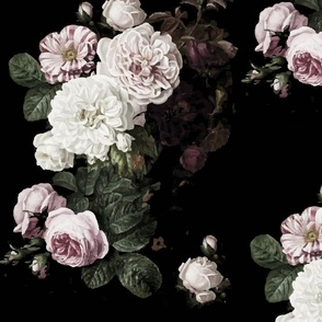 Medium size dark roses subdued moody floral dark floral roses peonies