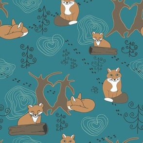Lovely woodland foxes teal