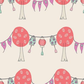 Lanterns and bunting with stars  in between trees with leaves pink, red,white, blue, purple, cream, green