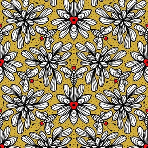 Whimsical wallpaper gold and red