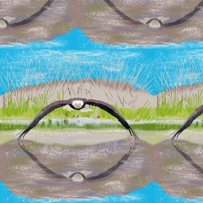 Large Eagle over Water by DulciArt,LLC