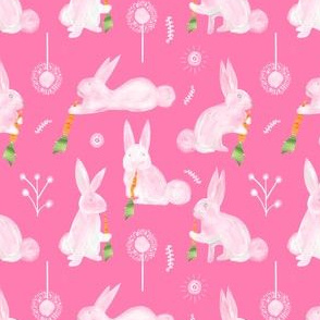 Colette's Small Scale  Bunnies with Carrots-Pink