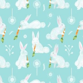 Colette's Small Scale  Bunnies with Carrots-  Aqua