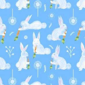 Colette's Small Scale Bunnies with Carrots- Blue