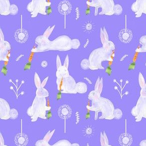 Colette's Small Scale Bunnies with Carrots- purple