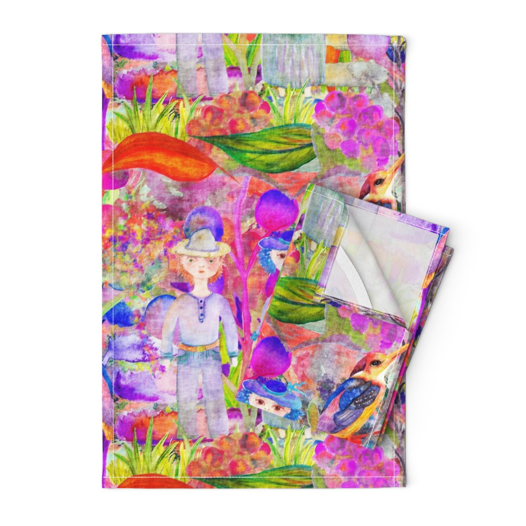 Orpington Tea Towels featuring LARGE WHIMSICAL WONDERLAND GARDEN VELVET EFFECT TEXTURE PSMGE by paysmage
