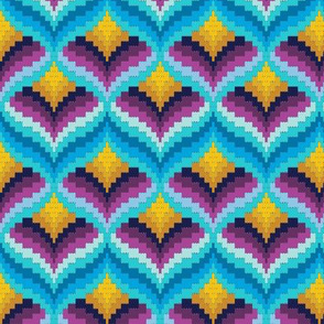 Bargello Blossom* (Velvet Banana) || knit crochet stitch flower floral 70s retro jewel tones candle flame fire