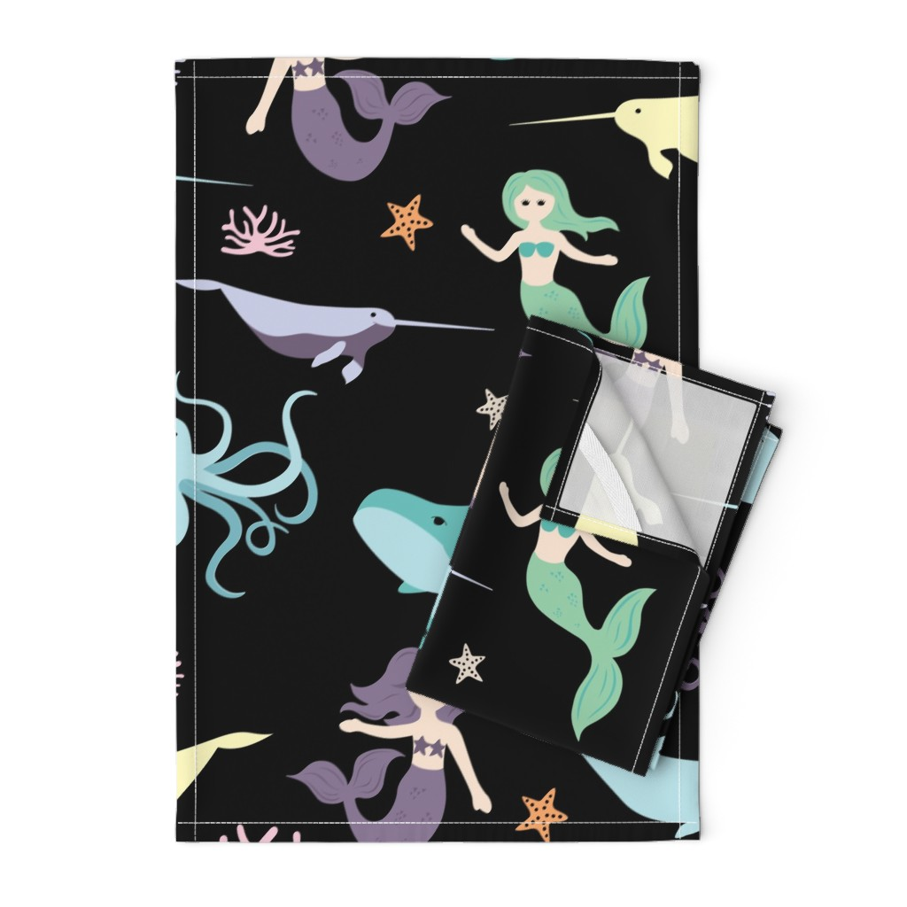 Orpington Tea Towels featuring Mermaid Friends Large Scale by denisecolgan
