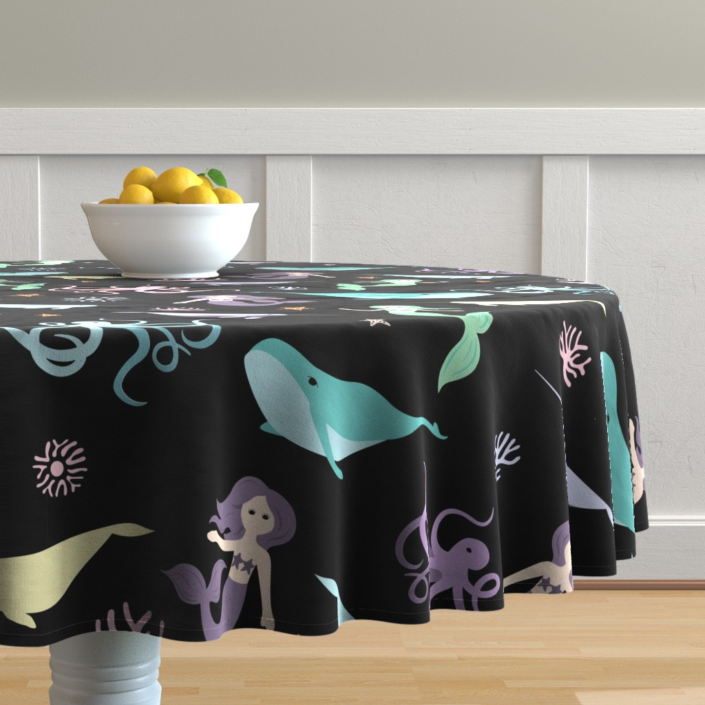 Malay Round Tablecloth featuring Mermaid Friends Large Scale by denisecolgan