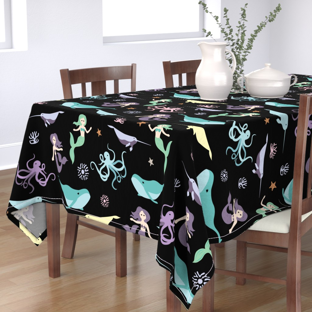 Bantam Rectangular Tablecloth featuring Mermaid Friends Large Scale by denisecolgan