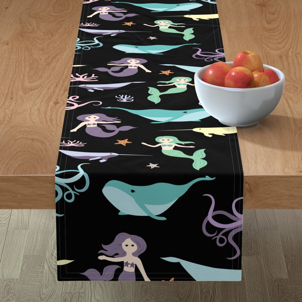 Minorca Table Runner featuring Mermaid Friends Large Scale by denisecolgan