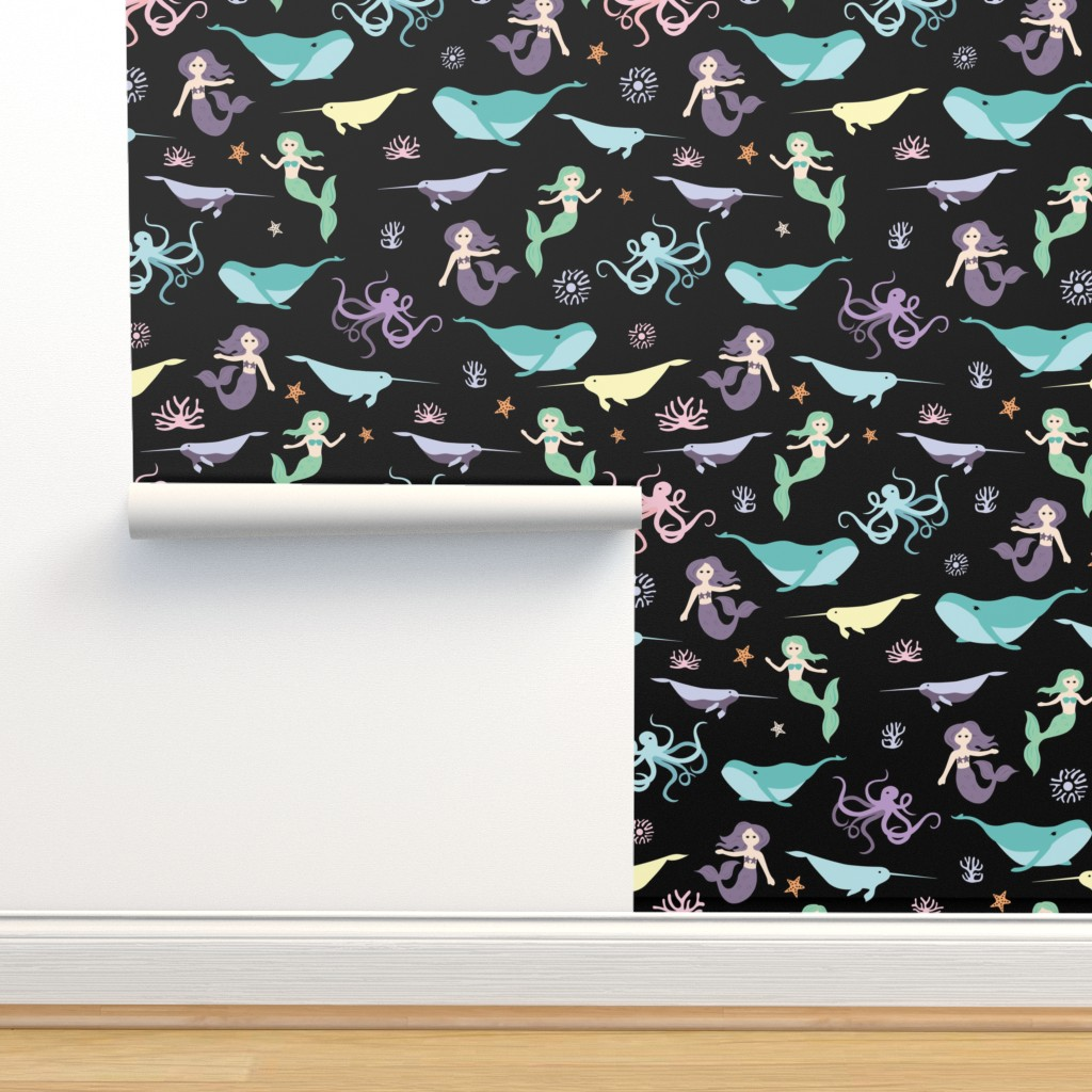 Isobar Durable Wallpaper featuring Mermaid Friends Large Scale by denisecolgan