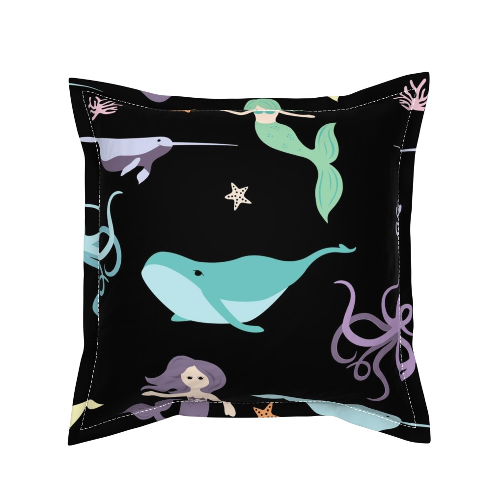Serama Throw Pillow featuring Mermaid Friends Large Scale by denisecolgan