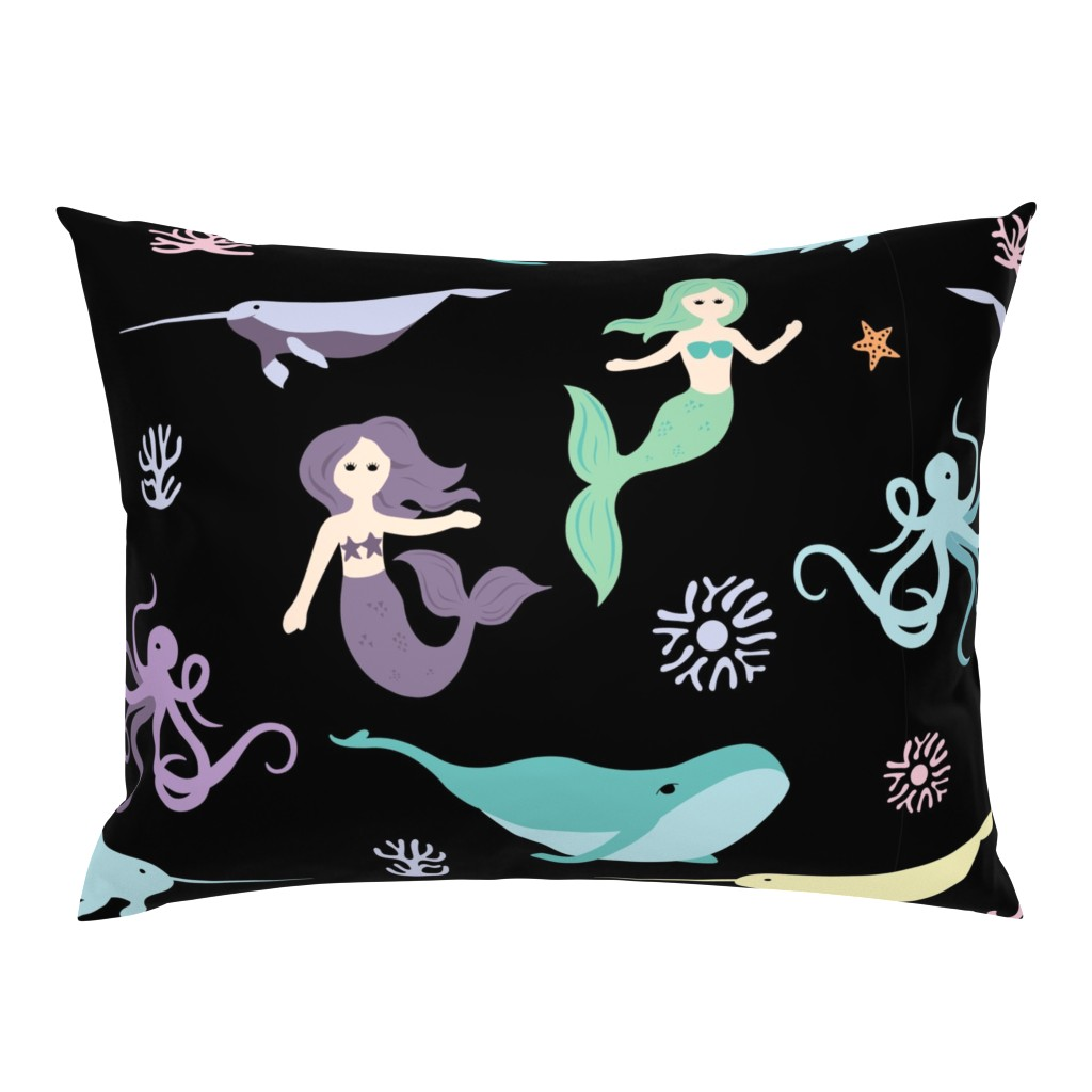 Campine Pillow Sham featuring Mermaid Friends Large Scale by denisecolgan