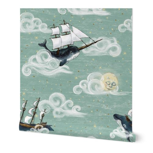 Large 12 inch whales Whimsical Sky Wonderland, gender neutral baby nursery nautical