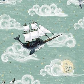 Large 12 inch whales Whimsical Sky Wonderland, gender neutral baby nursery nautical